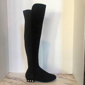 Wild Diva Over The Knee Boots w Pearl Trim Heel